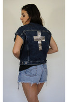Like a Prayer Studded Cross Denim Vest