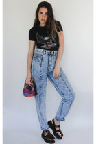 Vintage 90s High-Waisted Acid Wash Skinny Jeans -- Size 27