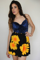 Vintage 90s Sunflower Print Circle Skirt