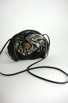 Vintage Black Leather Metallic Bow Purse
