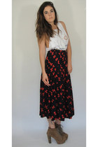 Vintage Black and Red Bow Print Silk Pleated Maxi Skirt