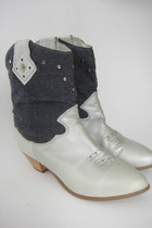 Vintage Denim and Leather Studded Cowboy-Style Ankle Boots -- Size 6.5