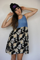 90s Babe Vintage Denim and Floral Print Babydoll Dress