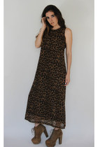 Vintage 90s Sheer Double Layer Leopard Print Maxi Dress