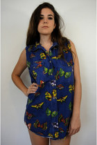 Vintage Oversized Denim Butterfly Print Shirtdress