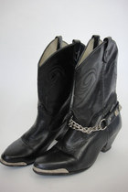 Biker Babe Vintage Black Leather Chain Boots Size 7