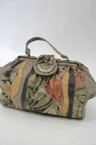 Vintage Faux Leather Floral Tapestry Purse