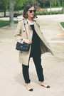 Camel-burberry-coat-off-white-the-kooples-shirt-black-chanel-bag