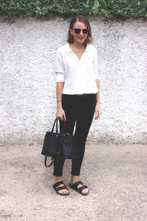 black The Kooples jeans - ivory The Kooples shirt - black Prada bag