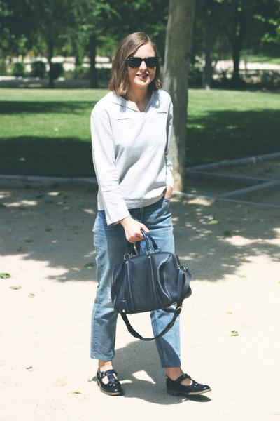 silver APC top - black Topshop shoes - light blue Claudie Pierlot jeans