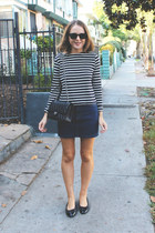 black Chanel bag - black ray-ban sunglasses - navy Petit Bateau top