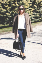 black Miu Miu shoes - light brown The Kooples coat - navy Topshop jeans