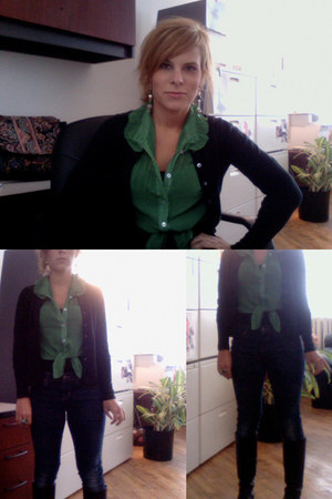 green blouse - black leather boots - navy Gap jeans - black vintage cardigan