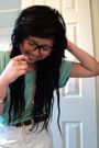 Brown-urban-outfitters-glasses-green-stitches-shirt-gold-accessories-brown