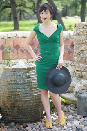 yellow giraudon shoes - green BB Dakota dress - black thrifted hat