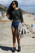 black Zara boots - dark green Zara sweater - dark brown Ray Ban sunglasses
