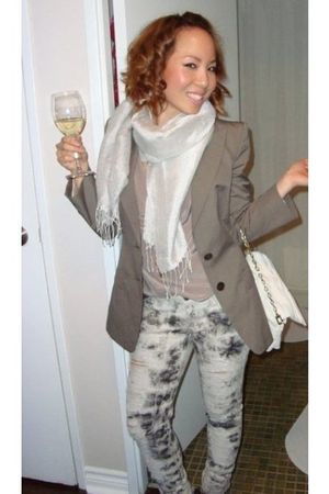 gray Siwy Denim jeans - beige thrifted top - brown Hugo Boss blazer - white Cole