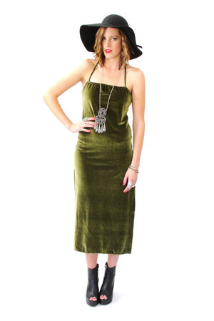 black peep toe wedge boots - olive green velvet maxi Trashy Vintage dress