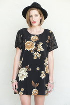 black Trashy Vintage dress - black chain fedora Forever 21 hat - silver 2 finger