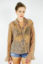 vintage 90s gypsy sheer BURNOUT VELVET BELL SLEEVE shirt blouse top S/M/L
