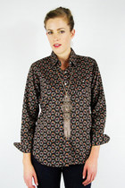 vintage 70s brown FLORAL print DISCO COLLAR BUTTON UP shirt blouse top S/M