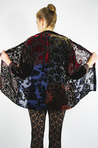vintage 90s gypsy sheer BURNOUT VELVET PATCHWORK OVERSIZED shirt top S/M/L