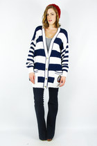 vintage 80s navy SAILOR NAUTICAL STRIPED CREST OVERSIZED cardigan sweater