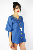 vintage 80s 90s grunge CHAMBRAY denim jean STUDDED OVERSIZED shirt top S/M/L/XL