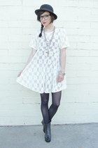 black peep toe wedge boots - white Trashy Vintage dress - black bowler hat vinta