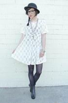 black peep toe wedge boots - white Trashy Vintage dress - black bowler hat vinta