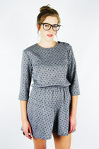 vintage 80s grey POLKA DOT print BABYDOLL SECRETARY mini dress S/M