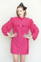 hot pink Trashy Vintage dress - silver cross Buffy necklace - turquoise blue fau