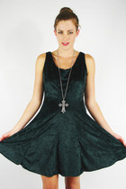 vintage 90s grunge goth green CRUSHED VELVET BABYDOLL mini dress S/M