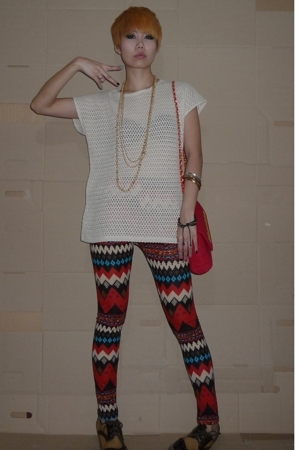 beige vintage blouse - brown vintage shoes - red leggings - red bag accessories