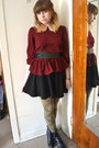 Black-diba-boots-black-cotton-on-skirt-crimson-one-clothing-top