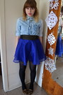 Blue-h-m-skirt-light-brown-jones-new-york-shoes-black-forever-21-belt