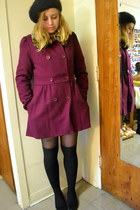 maroon Forever 21 coat - bubble gum H&M sweater - black cotton on skirt