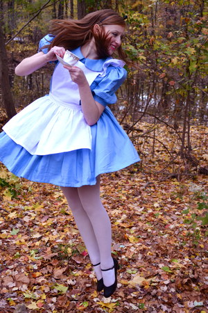white tights - sky blue dress