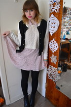 white Forever 21 sweater - light pink H&M dress - black active basic jacket