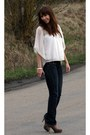 Navy-mango-jeans-light-brown-aldo-heels-ivory-river-island-blouse