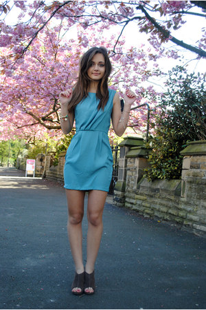 indigo silk Topshop dress - brown leather wedges