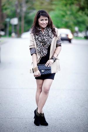 black Qupid boots - H&M blazer - H&M scarf