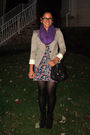 Gray-h-m-blazer-purple-random-brand-scarf-new-look-dress-black-f21-purse