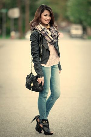 plaid H&M scarf - black bootie Qupid shoes - black leather Forever 21 jacket