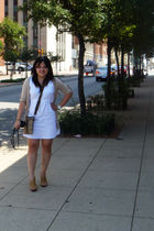 beige Charlotte Russe cardigan - white Ross dress - brown coach purse - white Ma
