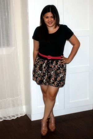 black Forever 21 t-shirt - brown Marshalls skirt - pink TJ Maxx belt - beige Bak