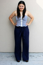 blue Forever 21 top - navy Charlotte Russe pants - black Jessica Simpson shoes