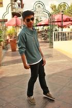 blue custom made sweater - black Topman pants - brown Bally shoes - black Ray Ba