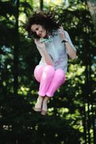 aquamarine button down J Crew shirt - bubble gum neon skinny Mossimo jeans