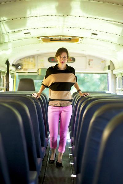 black striped Design History sweater - bubble gum neon skinny Mossimo jeans